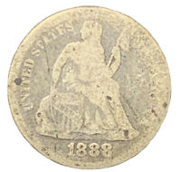 1888 FINE SEATED LIBERTY DIME  BETTER DATE EXACT COIN SHIPS FREE 8528
