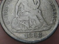 1868 S SILVER SEATED LIBERTY DIME-  KEY DATE