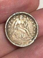 1856 P SEATED LIBERTY DIME- SMALL DATE, VF/EXTRA FINE  DETAILS