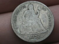 1870 P SEATED LIBERTY SILVER DIME- GOOD DETAILS