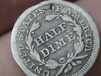 1853 P SEATED LIBERTY HALF DIME- WITH ARROWS- VG DETAILS