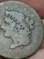 1839 LARGE CENT PENNY- BOOBY HEAD, GOOD/VG DETAILS