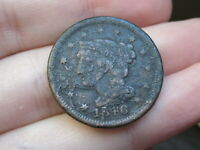 1846 BRAIDED HAIR LARGE CENT PENNY, SMALL DATE, VG DETAILS