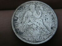 1870 SEATED LIBERTY SILVER DIME-  DATE