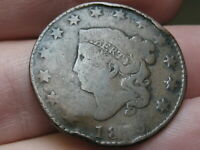 1819 MATRON HEAD LARGE CENT PENNY- SMALL DATE, 5.7 GRAMS, MISSING REVERSE