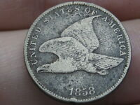 1858 FLYING EAGLE PENNY CENT- SMALL LETTERS, VF DETAILS