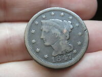 1847 BRAIDED HAIR LARGE CENT PENNY- VG/FINE DETAILS
