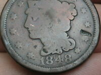 1848 BRAIDED HAIR LARGE CENT PENNY- VG DETAILS