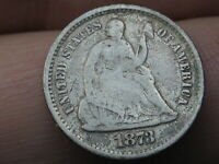 1873 S SEATED LIBERTY HALF DIME- VG/FINE DETAILS