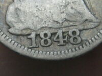 1848 SEATED LIBERTY HALF DIME- LARGE DATE