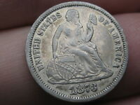 1873 SEATED LIBERTY DIME- NO ARROWS, CLOSED 3, FINE/VF DETAILS,