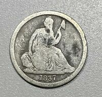 1837 SEATED LIBERTY SILVER DIME NO STARS