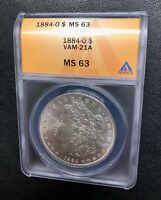 $1 1884-O MORGAN SILVER DOLLAR, ANACS MINT STATE 63, VAM-21A, O/O, RUST PITS, EXQUISITE