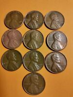 10 LOT OLD RARE LINCOLN PENNIES ONE CENT COINS 1953 60 76 82