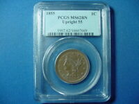 1855 UPRIGHT 55 LARGE CENT PCGS MS62BN
