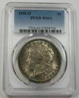 1892-O PCGS MINT STATE 63 TONED MORGAN DOLLAR $1 US COIN ITEM 29623A