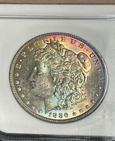 1886 NGC CERTIFIED MINT STATE 63 TONED MORGAN