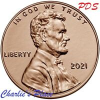 2021 PDS LINCOLN BU & PROOF SHIELD CENT 3 COIN CENT