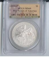 2010 P CERTIFIED BOY SCOUTS FLAG SILVER $ PCGS MS69   ZF