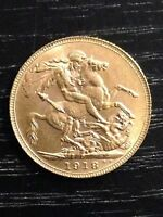 1918 'P' FULL SOVEREIGN ST GEORGE REVERSE GEORGE V GOLD COIN