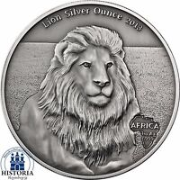 LION SILVER OUNCE 2013    GABON 1000 FRANCS ANTIQUE FINISH 1 OZ  AG .999 COIN