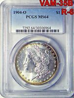 1904-O MORGAN DOLLAR PCGS MINT STATE 64 VAM-35B R-6 DOUBLED REV CLASHED OBV GOUGES A