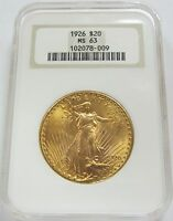 1926 SAINT GAUDENS $20 GOLD DOUBLE EAGLE NGC MS63 OLD FAT HOLDER