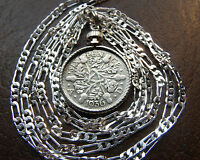 CLASSIC ENGLISH  SILVER SIXPENCE PENDANT ON A SILVER CHAIN UP TO 30