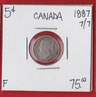 1887 7/7  CANADA SILVER FIVE CENT COIN SEE SCANS 4398    F