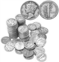 MERCURY DIMES 90  SILVER 50 COIN ROLL $5 FACE VALUE AVERAGE CIRCULATED IN STOCK