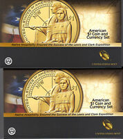 2X  2014 COIN AND CURRENCY SETS 2014 D ENHANCED SACAGAWEA POSITIONS A AND B