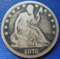 1878 SEATED LIBERTY HALF DOLLAR GOOD VG US TYPE COIN 50C SCRATCHED T428