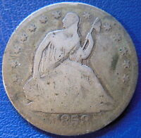 1858 S SEATED LIBERTY HALF DOLLAR GOOD G US TYPE COIN 50C T352