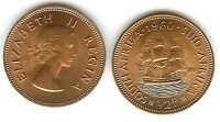 SOUTH AFRICA 1/2 CENT 1960 AU UNC QUEEN & DROMEDARIS