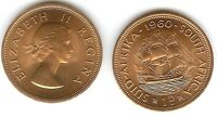 SOUTH AFRICA 1 PENNY 1960 UNC QUEEN & DROMEDARIS SHIP