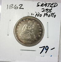 RAW 1862 SEATED LIBERTY 25C UNGRADED UNCERTIFIED BUSINESS STRIKE SILVER QUARTER