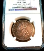 1847 O HALF DOLLAR 50C SEATED LIBERTY NGC XF DETAILS CERTIFIED NEW ORLEANS