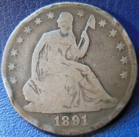 1891 SEATED LIBERTY HALF DOLLAR GOOD TO GOOD  50C US TYPE COIN DAMAGED T707