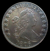 1806 SILVER UNITED STATES DRAPED BUST FLOWING HAIR HALF DOLLAR COIN EXTRA FINE  CONDITION