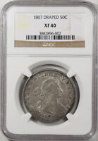 1807 DRAPED BUST HALF DOLLAR, NGC EXTRA FINE -40-ORIGINAL & WHOLESOME W/ LUSTER REMAINING