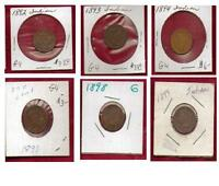 LOT OF 6   INDIAN HEAD PENNIES 1892 1893 1894 1897 1898 1899 IN COIN FLIPS