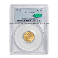 1906 $2.50 LIBERTY HEAD PCGS MS63  CAC  CERTIFIED QUARTER EAGLE GOLD COIN