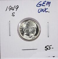 RAW 1949 S ROOSEVELT 10C UNCERTIFIED UNGRADED SAN FRANCISCO SILVER DIME COIN