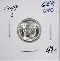 RAW 1949 S ROOSEVELT 10C UNCERTIFIED UNGRADED SAN FRANCISCO SILVER DIME COIN.