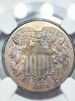 1869 2 CENTS COIN SPECIAL DATE NGC AU DETAILS CLEANED ONLY 1,546,500 MINTED