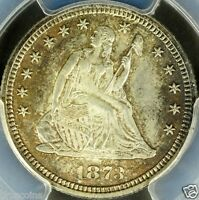 1873 25C SEATED LIBERTY QUARTER PCGS MS65 OPEN 3   TRUE GEM QUALITY