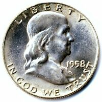 1958 D BEN FRANKLIN HALF NICE CLEARLY UNCIRCULATED NICE! 61