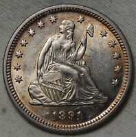 1891 SILVER SEATED LIBERTY QUARTER DOLLAR MS BU UNC