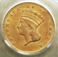 1874 GOLD UNITED STATES PRINCESS HEAD $ 1 DOLLAR COIN PCGS MINT STATE 62  TYPE 3