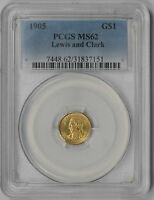 1905 LEWIS AND CLARK GOLD COMMEMORATIVE DOLLAR $1 MINT STATE 62 PCGS